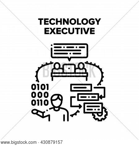 Technology Executive Vector Icon Concept. Technology Executive Project Manager Controlling Working P