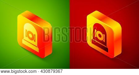 Isometric Ringing Alarm Bell Icon Isolated On Green And Red Background. Alarm Symbol, Service Bell,