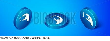 Isometric Human Standing And Showing The Size Of Something With His Hands Icon Isolated On Blue Back