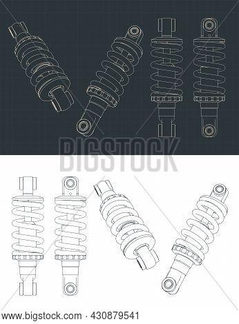 Stylized Vector Illustration Of Blueprints Of Bike Shock Absorber