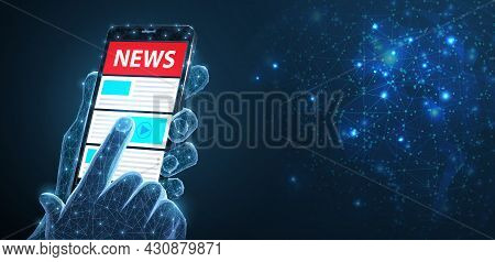 Abstract Vector Phone In Man Hand With World News. Background, Mockup. Online Daily News, Newspaper