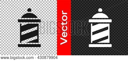 Black Classic Barber Shop Pole Icon Isolated On Transparent Background. Barbershop Pole Symbol. Vect