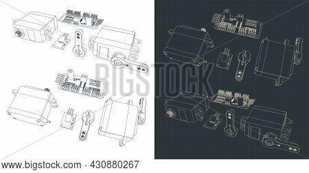 Stylized Vector Illustration Of Blueprints Of Servo Motor Kit