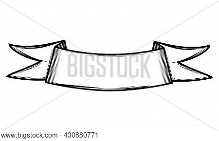 Vector Illustration Welcome Ribbon. Old Ribbon Banner In Engraving Style. Hand Drawn Vintage Ribbon
