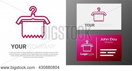 Logotype Line Hanger Wardrobe Icon Isolated On White Background. Clean Towel Sign. Cloakroom Icon. C