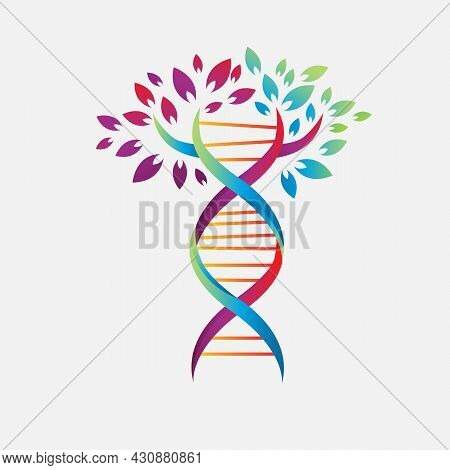 Medical Symbol Helix Dna Tree Logo Design Vector Icon Simple Sign Nature Dna Strand Icon