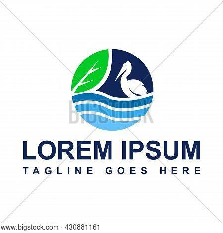 Drawing Ecosystem Environmental Conservation Pelican Bird Logo Design Vector Illustration