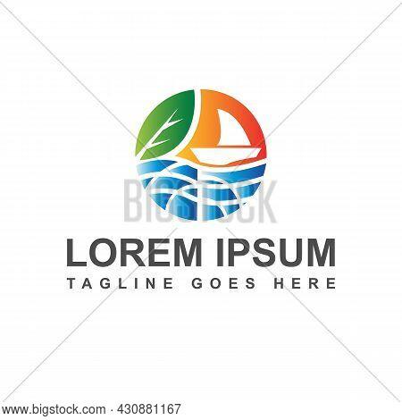 Drawing Ecosystem Environmental Conservation Logo Design Vector Illustration
