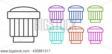 Black Line Camera Photo Lens Icon Isolated On White Background. Set Icons Colorful. Vector