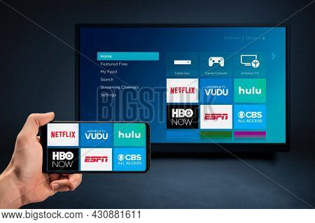 Moscow, Russia - August 25, 2021 : Video On Demand Streaming Services Netflix, Hbo, Vudu, Hulu, Espn