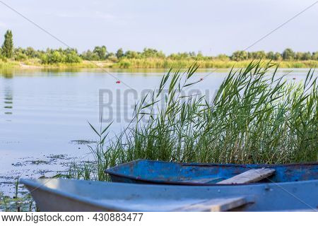 An Old Iron Boat By The River. Reeds On The River Under The Sun. Summer Landscape With Boats