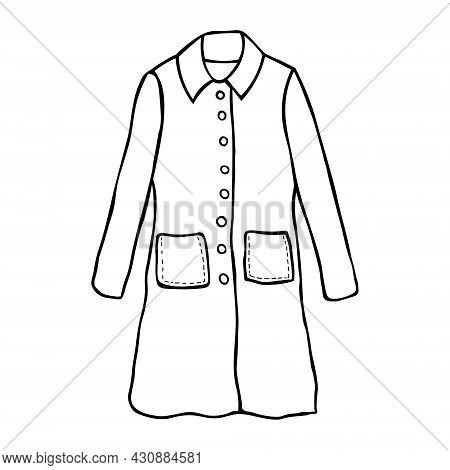 Vector Sketch Illustration. Women's Coat, Fashion Flat Sketch. Over Coat For Unisex Drawing.
