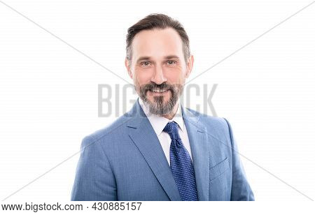 Smilinng Mature Grizzled Entrepreneur In Businesslike Suit Isolated On White, Charisma