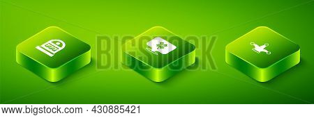 Set Isometric Casino Slot Machine With Clover, Joker Playing Card And Slot Jackpot Icon. Vector