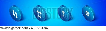Set Isometric Picture Crop Photo, Softbox Light, Photo Camera And Camera Lens Icon. Vector