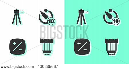Set Camera Photo Lens, Tripod, Exposure Compensation And Timer Icon. Vector