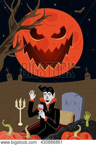 Vampire Drink Blood In Grave Near Rip Tombstone In Moonlight Night Cemetery. Happy Halloween Holiday
