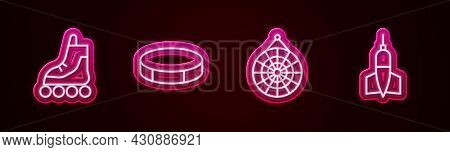 Set Line Roller Skate, Hockey Puck, Classic Dart Board And Dart Arrow. Glowing Neon Icon. Vector