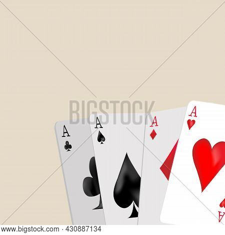 Cards Are Laid Out On A Table. Gambling. Four Aces. Poker, Casino, Playing Table. Vector Illustratio