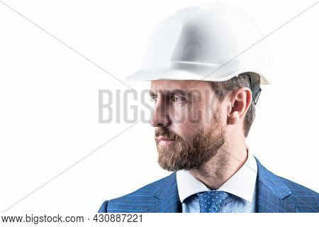 Always Dedicated And Devoted. Construction Man Isolated On White. Service Man Wear Safety Helmet