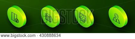 Set Isometric Line Toll Road Traffic Sign, Location With Store, And Icon. Vector