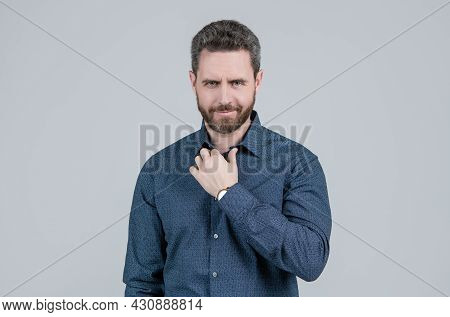 Casual Appearance Without Having To Don A Tie. Bearded Man Wear Shirt. Wearing Smart Casual
