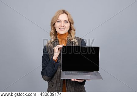 It Is Made For You. Computer User Hold Open Laptop Grey Background. Pc Portable Personal Computer
