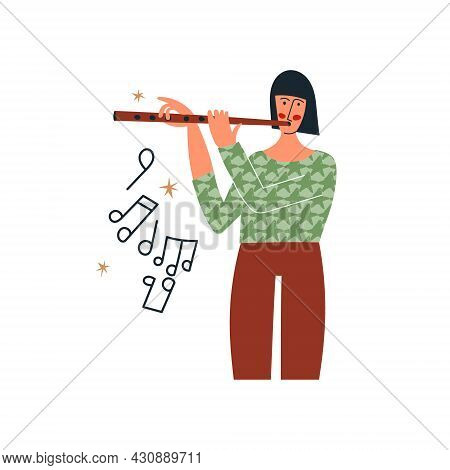 Girl Playing The Flute Or Woman Musician Play Flute Music. Classical Music Performer With Instrument