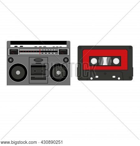 Tape Recorder And Cassette Isolated On A White Background In The Cartoon Style.