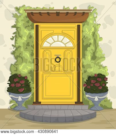 Front Door With Porch, Steps, Climbing Ivy And Roses In Pots. Cartoon Vector Illustration