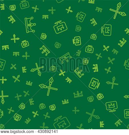 Set Line King Crown, Crossed Medieval Spears And Location King On Seamless Pattern. Vector