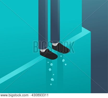 Standing On The Ledge - Person Legs On Risky Narrow Eave. Isometric Conceptual Illustration With Psy