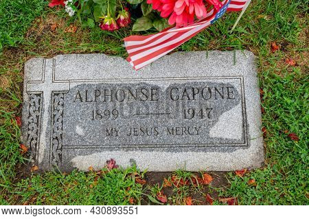 August 11, 2021 - HIllside, Illinois, USA: The final resting place of Chicago mobster, Alphonse Capone at Mt. Carmel Cemetery.