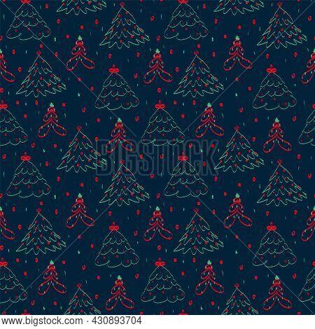 Abstract Christmas Tree Pattern. Modern Different, Colored Christmas Trees. Abstract Trees Pattern F