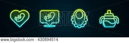 Set Line Baby Inside Heart, , Bib And Bottle. Glowing Neon Icon. Vector