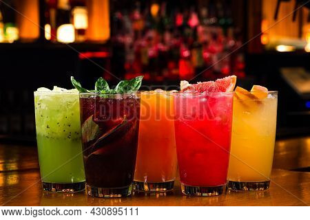 Summer Drinks Detox Red Green Yellow Cocktails. Copy Space