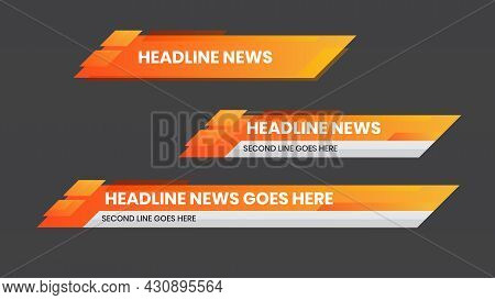 Lower Third Yellow Orange Color Design Template. Set Of Tv Banners And Bars For News And Sport Chann