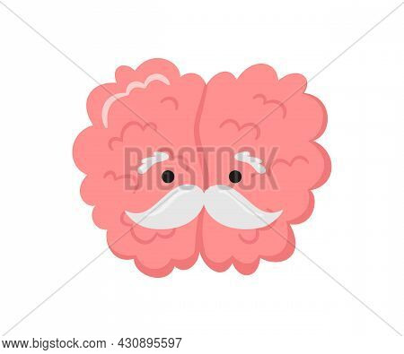 A Kawaii Old Brain Character With A Gray Mustache. Symbol Of Alzheimer Disease, Dementia And Other A