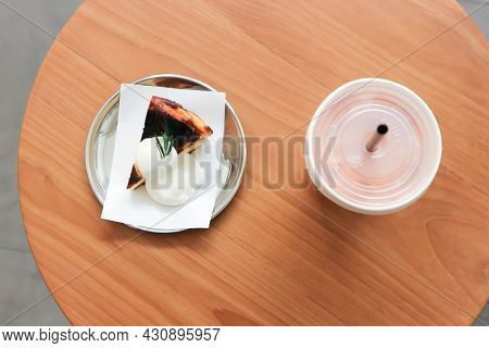 Basque Burnt Cheesecake,  Cheese Cake Or Burnt Cheese Cake And Milk Tea