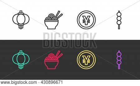 Set Line Chinese Paper Lantern, Asian Noodles Bowl, Yuan Currency And Meatballs On Wooden Stick On B
