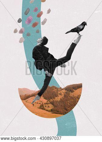 Modern Design, Contemporary Art Collage. Inspiration, Idea, Trendy Urban Magazine Style. Young Man D