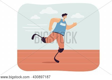 Young Man With Prosthetic Legs Participating In Sports Race. Flat Vector Illustration. Disabled Athl