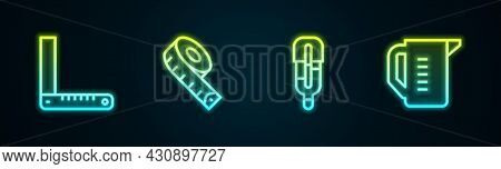 Set Line Corner Ruler, Measuring Tape, Medical Thermometer And Cup. Glowing Neon Icon. Vector