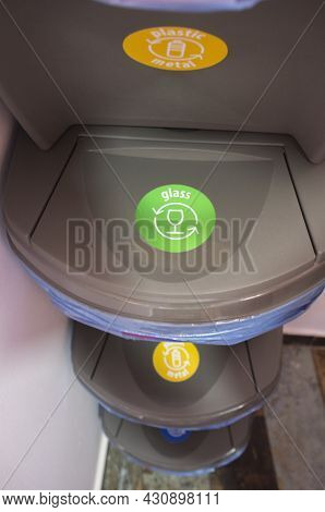 Waste Stackable Bin For Glass. Separating Household Waste Concept