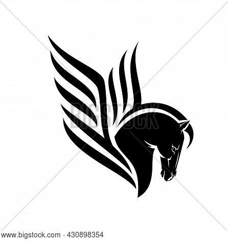 Pegasus Winged Horse Profile Head - Side View Mythical Animal Stylized Black And White Vector Design