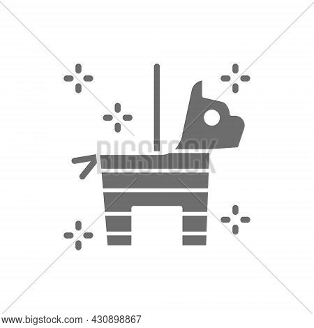 Mexican Pinata Horse With Confetti And Candy Grey Icon.