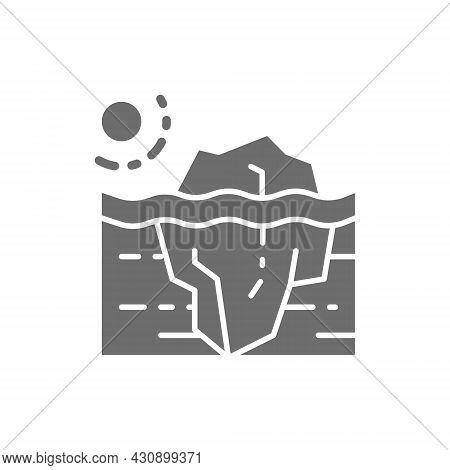 Global Warming, Iceberg Grey Icon. Isolated On White Background