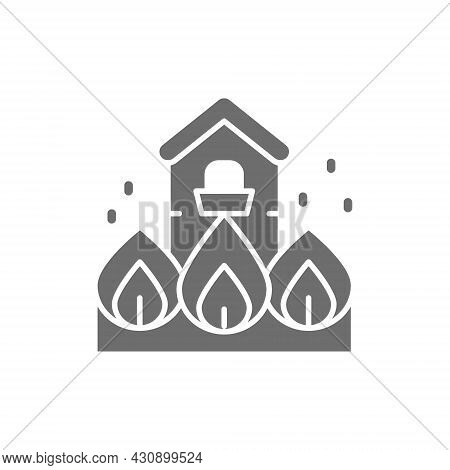 Burning House, Fire, Natural Disaster, Catastrophe Grey Icon.