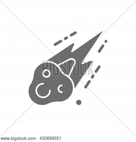 Vector Meteorite, Meteor Rain Fall Grey Icon.