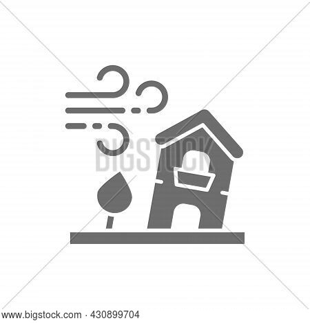 Power Wind, Windstorm, Catastrophe, Natural Disaster Grey Icon.